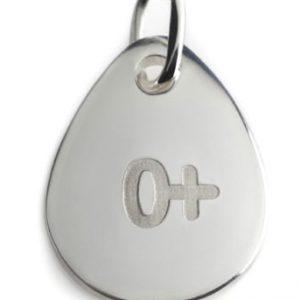 BLOOD TYPE 0+  silver pendant