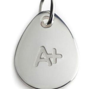 BLOOD TYPE A+  silver pendant