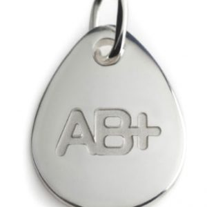 BLOOD TYPE AB+  silver pendant