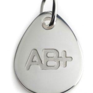 BLOOD TYPE AB+  silver pendant