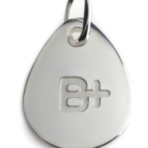 BLOOD TYPE B+  silver pendant