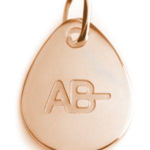 BLOOD TYPE AB-  rose gold pendant