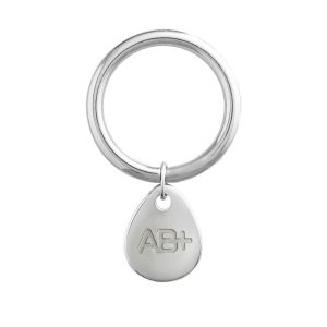 BLOOD TYPE AB+ KEYCHAIN SILVER