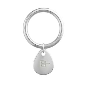 BLOOD TYPE B- KEYCHAIN SILVER